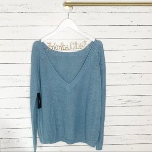 Lulu's Just For You Slate Blue Backless Sweater